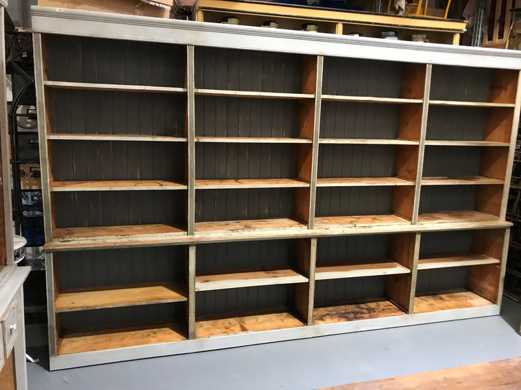 Vintage  European  shop shelving unit 3.6 x 2.2 mt high #2761