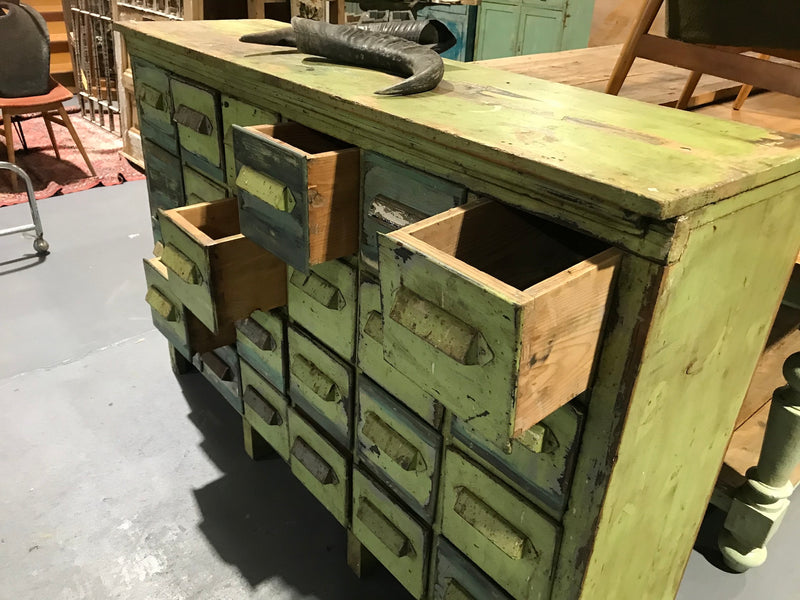 Vintage industrial French 40s wooden bank of drawers #2679 24 drawers