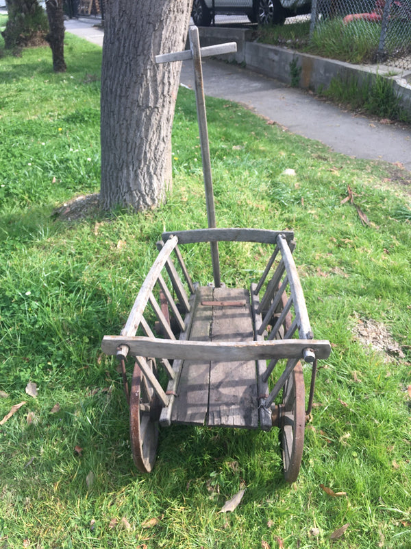Vintage European wooden Pumpkin Cart #3110 (1)