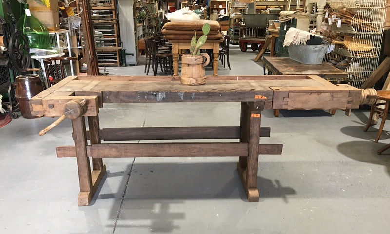 Vintage European Carpenters Workbench 1920s #3111 (1)