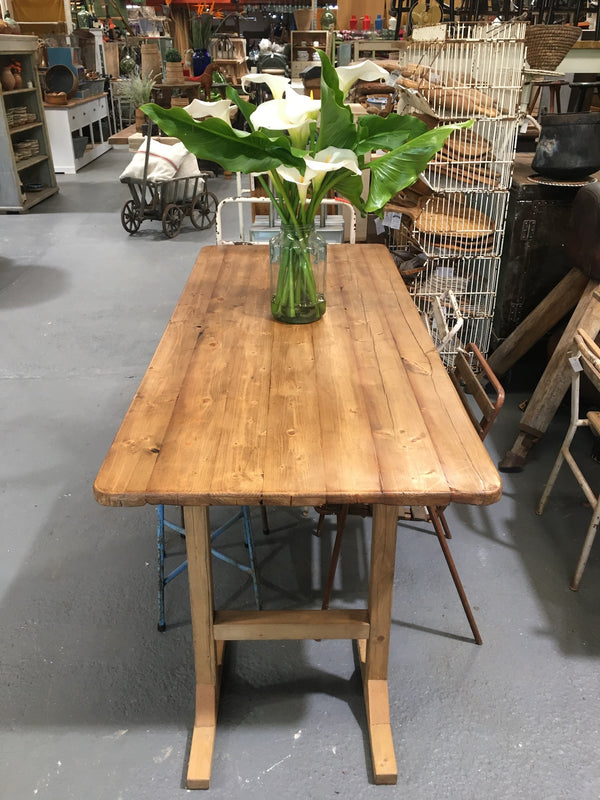 Copy of Vintage European Wooden Trestle Table #B3165 (1)  Byron