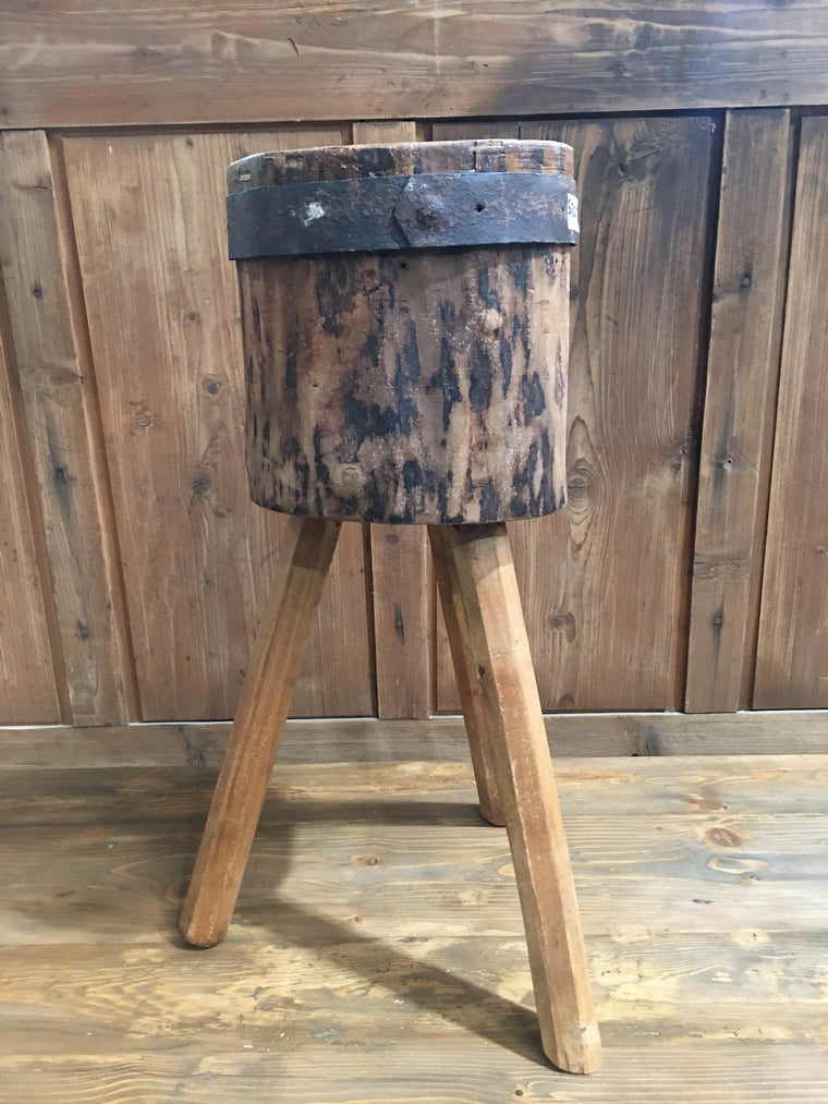 Vintage  European Wooden Block Stool #3182 (1)