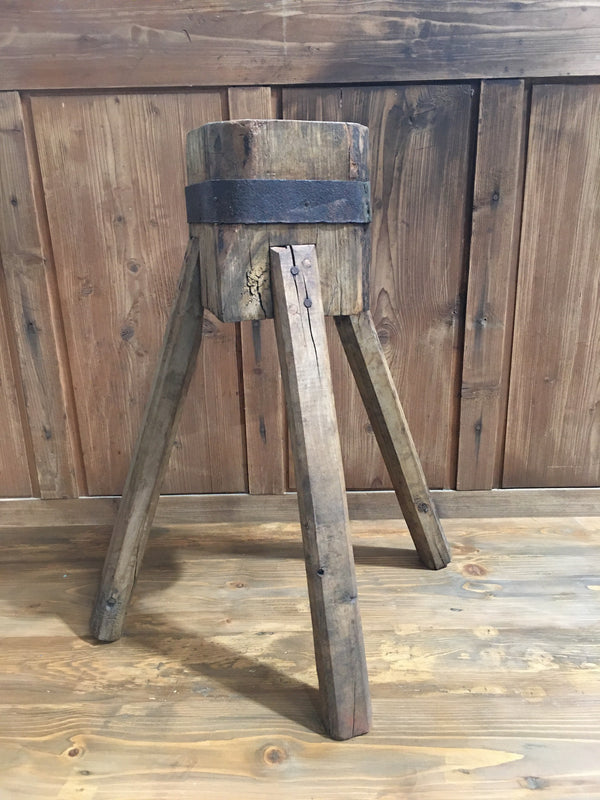 Vintage  European Wooden Block Stool #3182 (3)