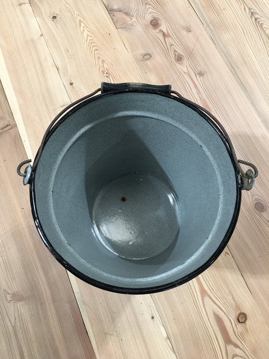 Vintage  European Enamel Water Bucket  #3221 (7)