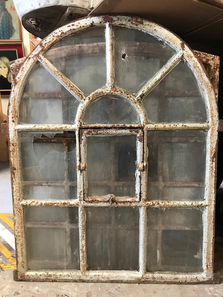 Vintage industrial European cast iron  window # 2389