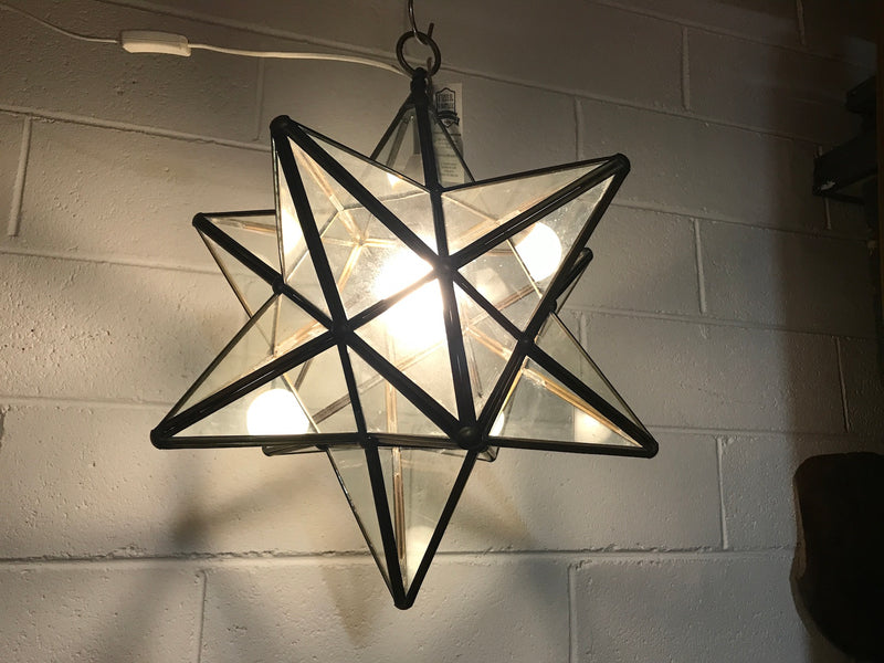 Vintage  turkish star Brass and Glass lights #2391 star