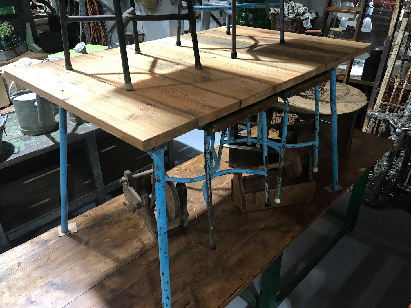 Vintage industrial European canteen table #2051