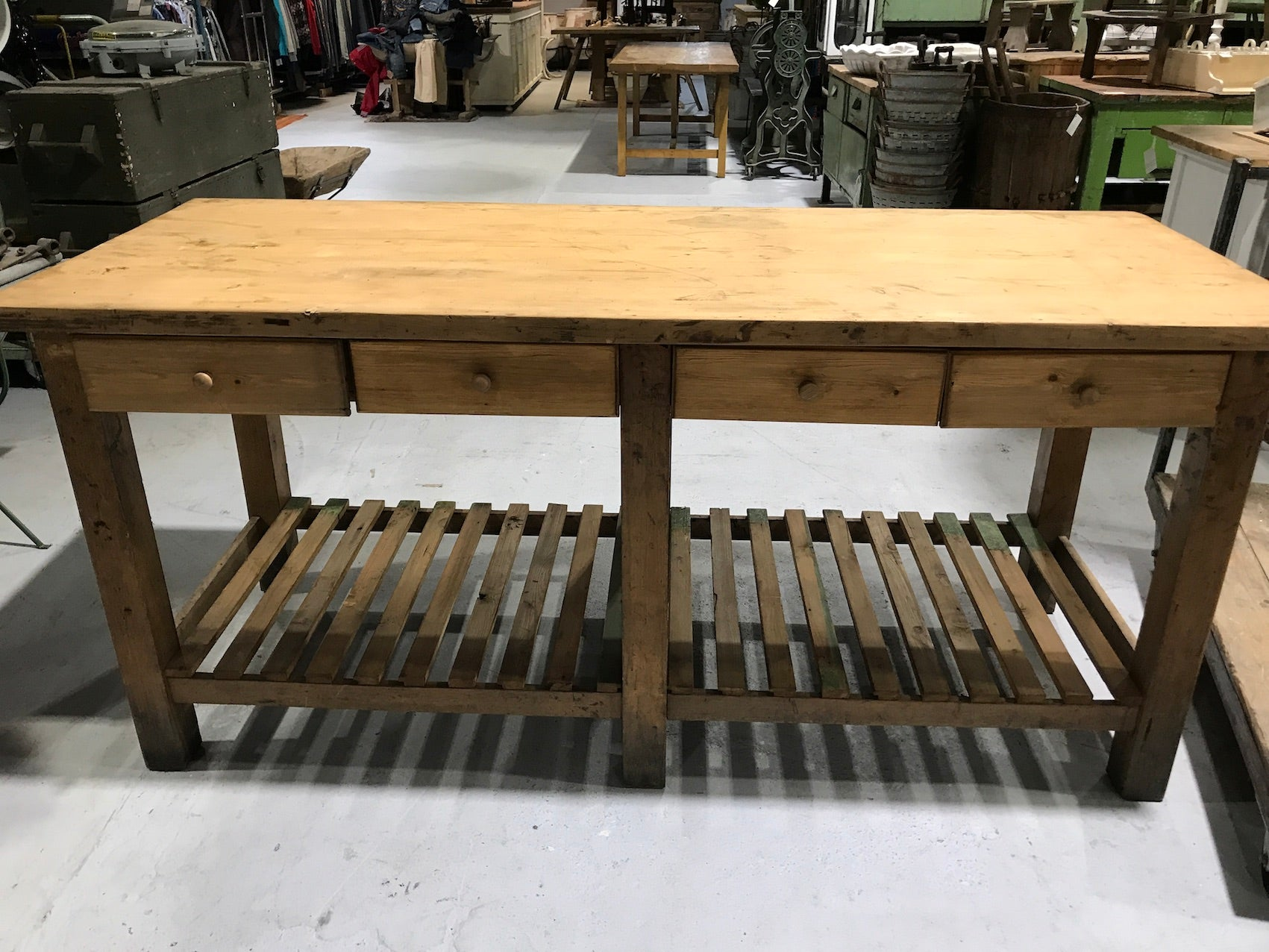 Vintage industrial European workbench kitchen island table counter  #2035 Byron Warehouse