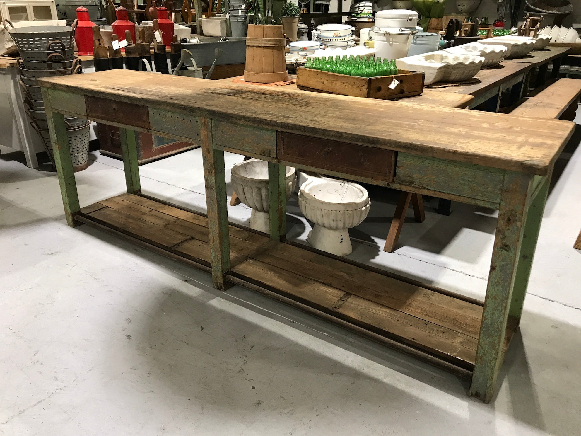 Vintage industrial European kitchen island workbench 2.6mt #2247 Byron Warehouse On Hold