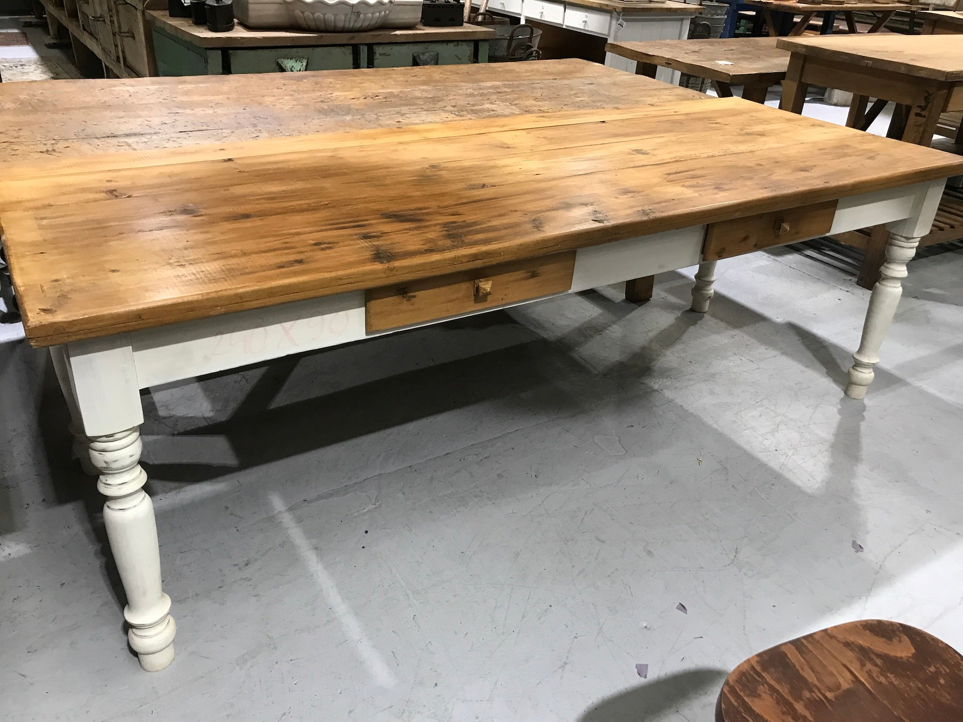Vintage industrial European kitchen farmhouse dining table 2.4 mt #2100