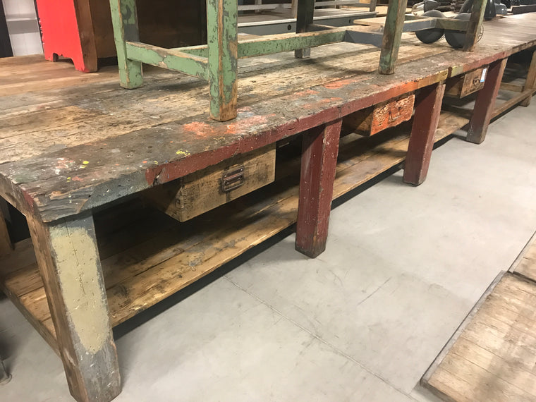 Vintage industrial European workbench table counter  kitchen island #2476.coming at the end of may container