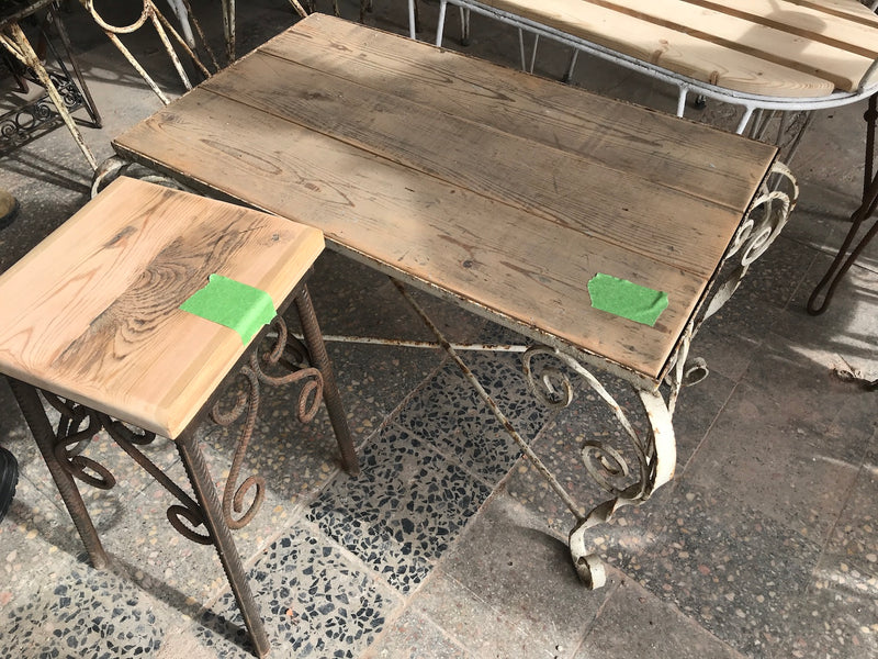 Vintage French iron small coffee table #2427