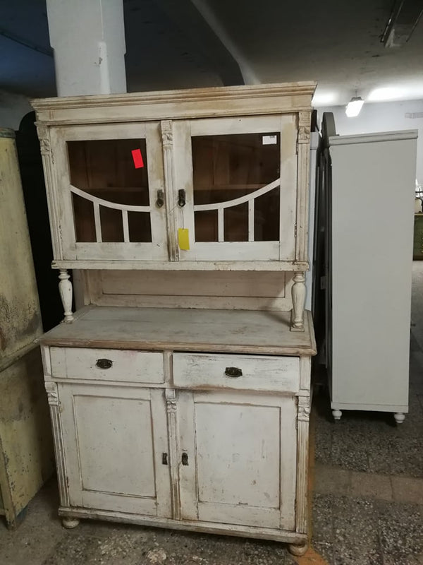 Vintage industrial European wooden kitchen cabinet #2137