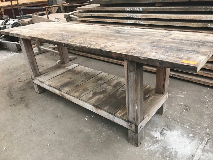 Vintage industrial European workbench table counter  #2117