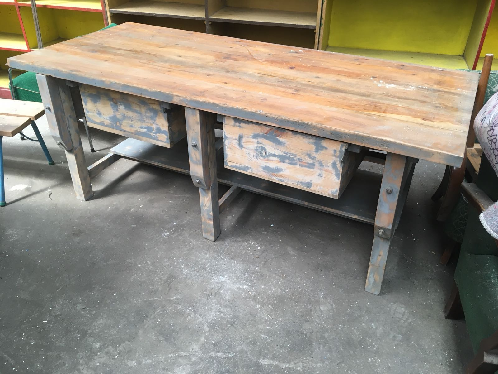 Vintage industrial European workbench table counter  kitchen island 2.0mt #2274