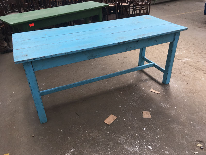 Vintage industrial European FARM kitchen dining table  #2269 blue