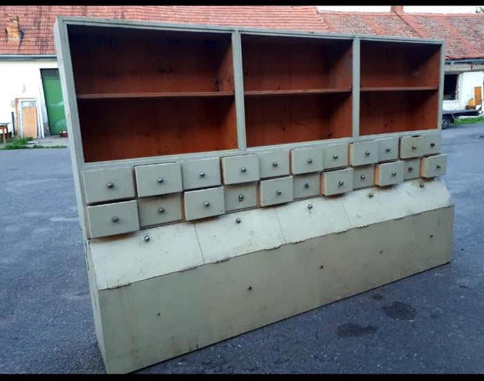 Vintage industrial Dutch wooden general store  shelving unit #2509