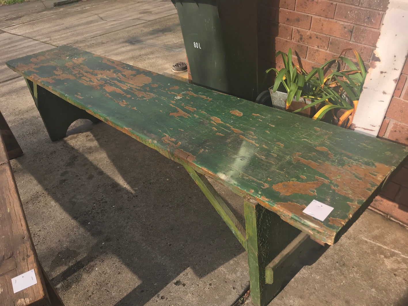 Vintage industrial European bench seat  #2290/5 green