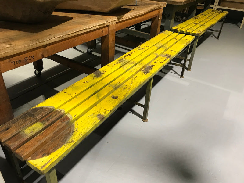 Vintage industrial Dutch bench seat  #1946 yellow
