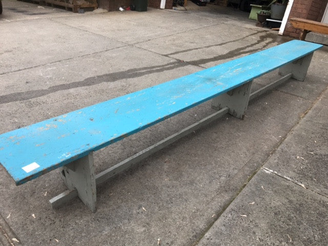 Vintage industrial Dutch bench seat  #blue bench
