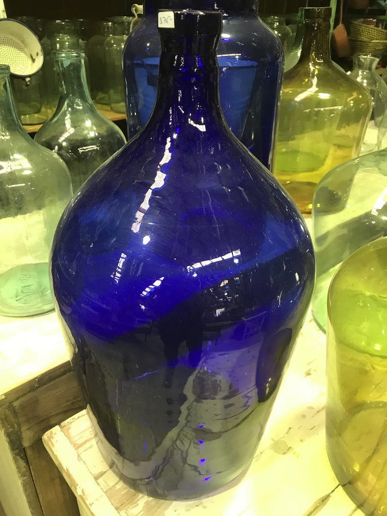 Vintage industrial European demijohn bottles  #1810 blue
