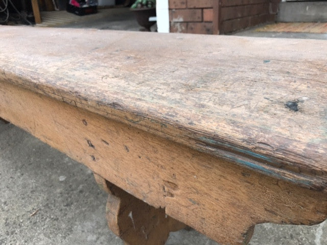 Vintage industrial Dutch bench seat  #brown bench