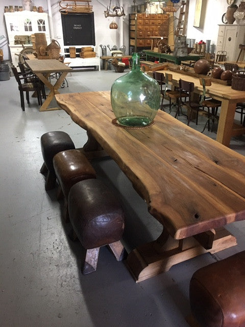 Vintage industrial European chestnut kitchen dining table #chestnut table