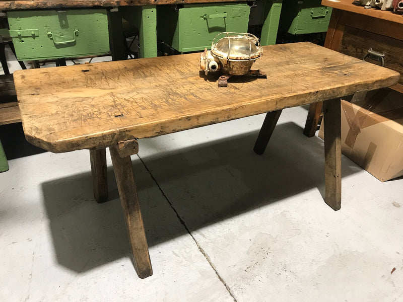 Vintage industrial European wooden hallway table console #2295/1