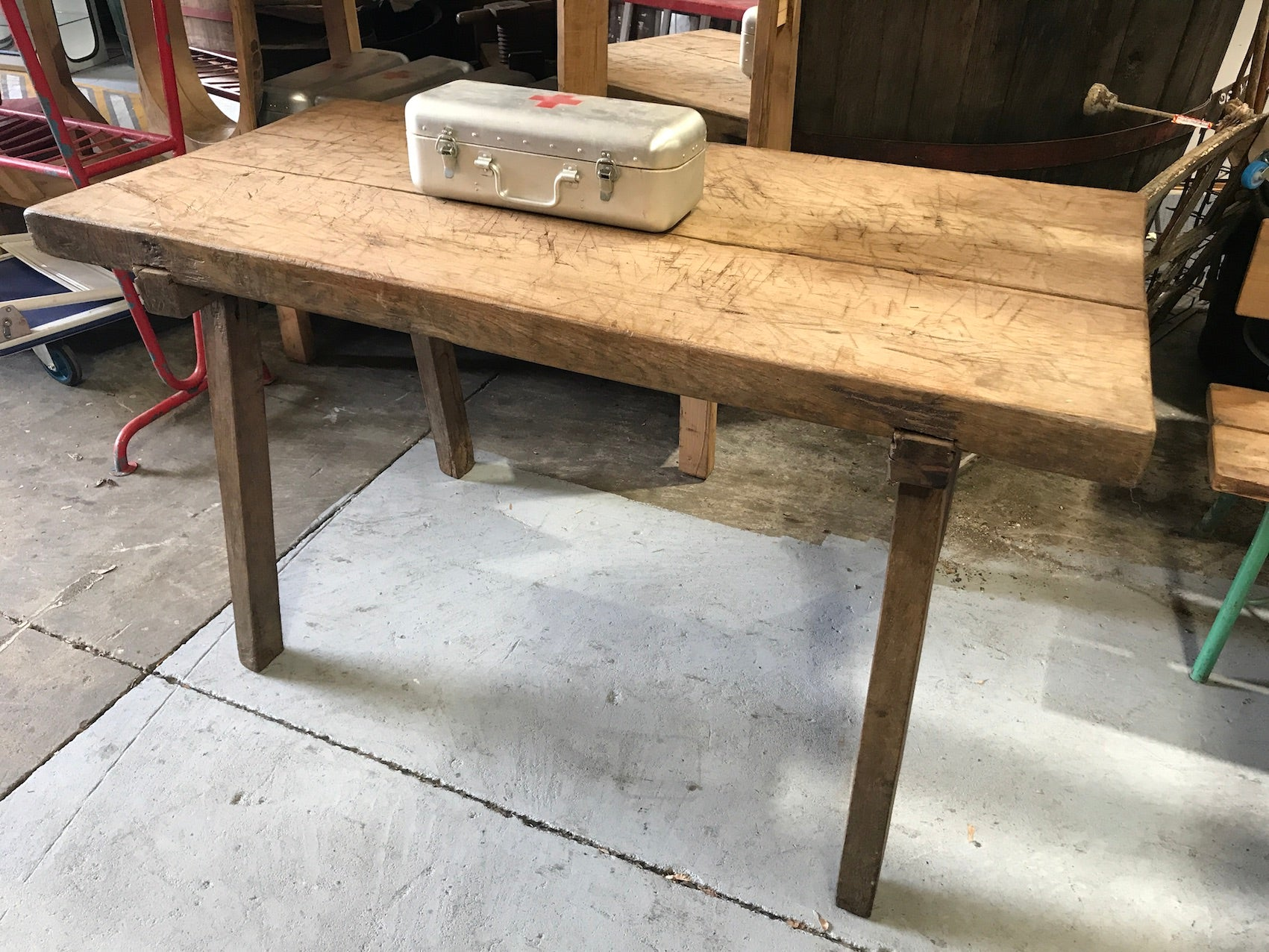 Vintage industrial European wooden hallway table console #2298/4