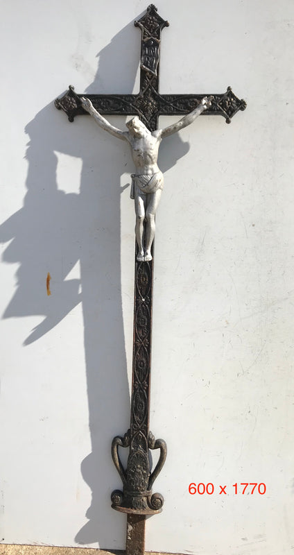 Old European Cast Iron Crucifix #3038/1