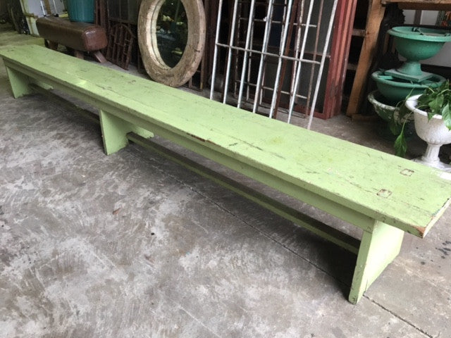 Vintage industrial Dutch bench seat  #green bench
