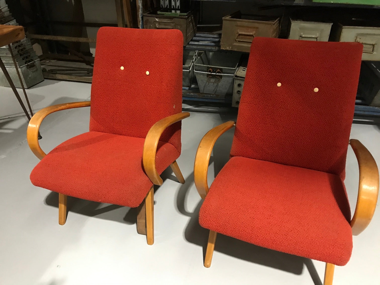 Vintage industrial Czech Halabala club arm chair set #1942 red