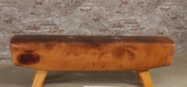 Vintage industrial Romanian pommel horse leather bench seat #2527