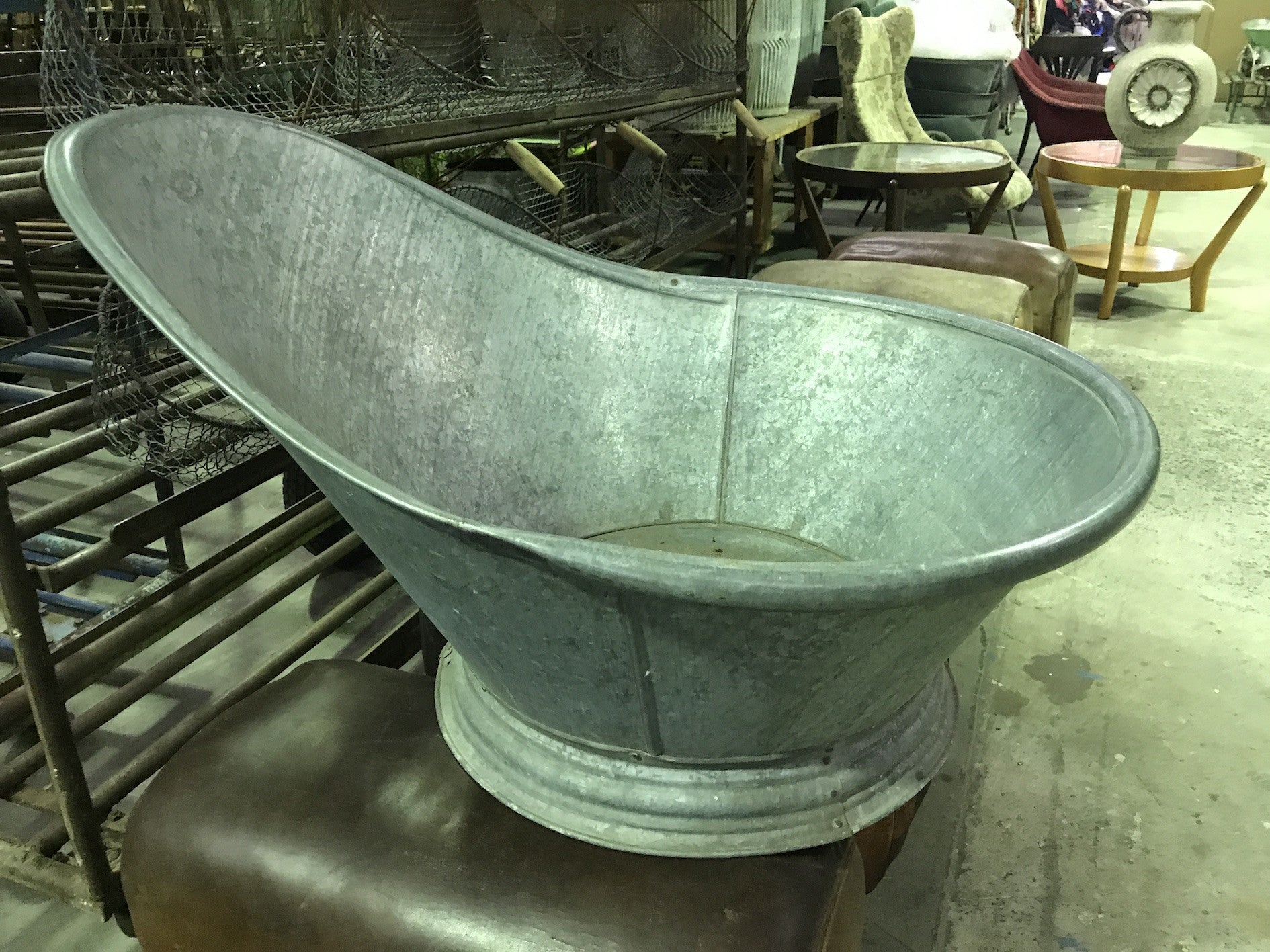 Vintage Industrial French 1940s Galvanized Kids Bath Tubs