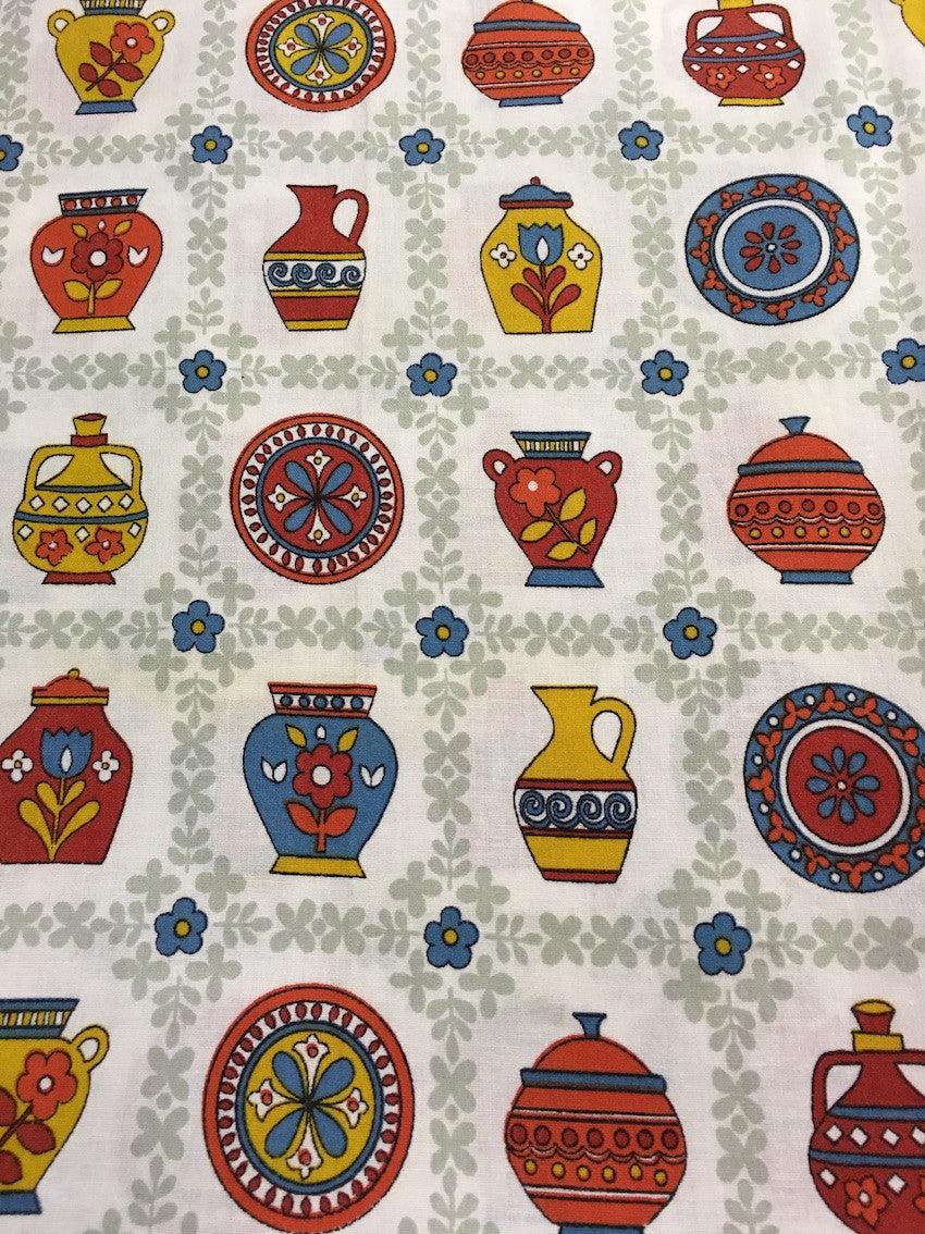 Old Vintage 50s European Curtain Fabric #m20