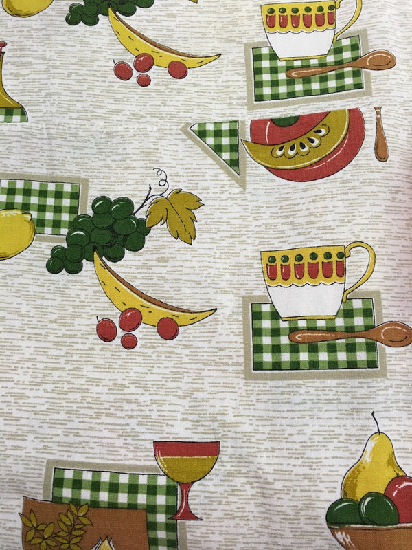 Old Vintage 50s European Curtain Fabric #m25