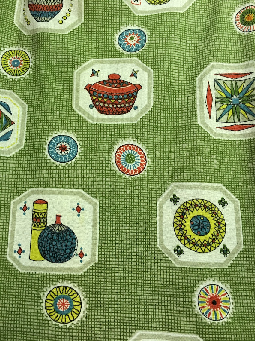Old Vintage 50s European Curtain Fabric #m26