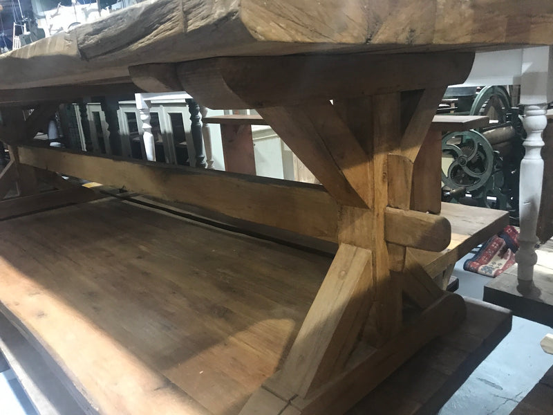 Vintage industrial European FRENCH OAK kitchen  dining table  3.0 long #2216