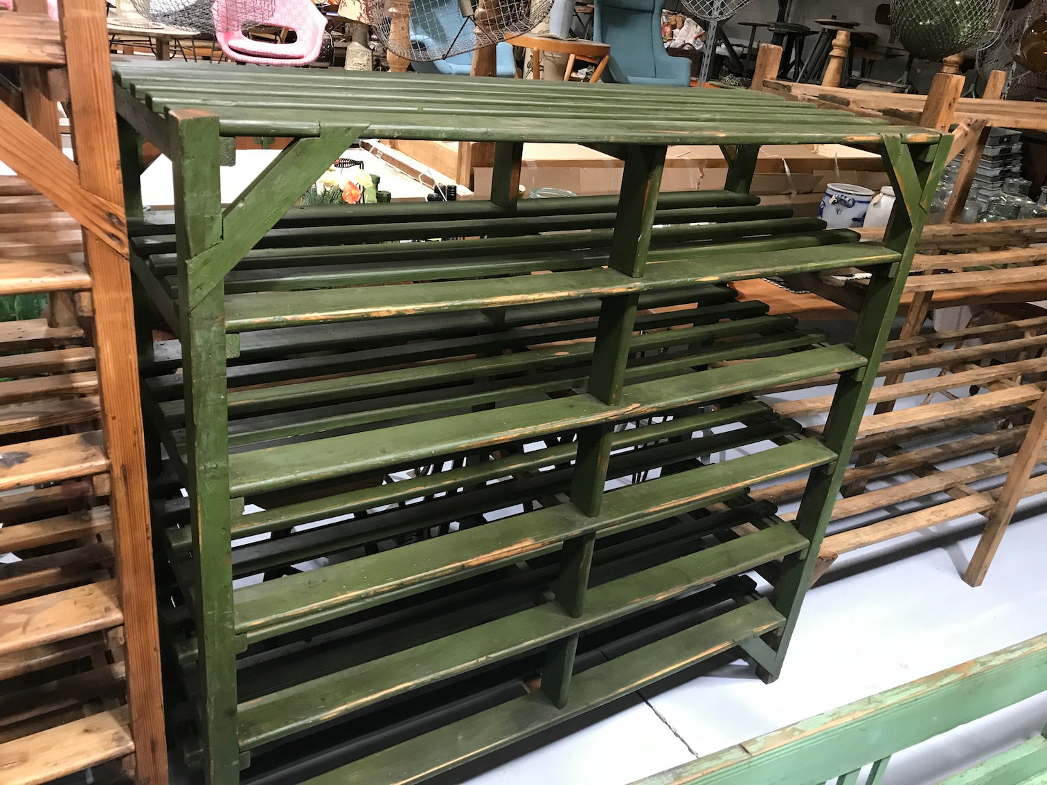 Vintage industrial Belgium bakers wooden rack  #1997green