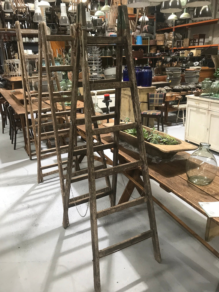 Vintage industrial European wooden step ladder #2086/3