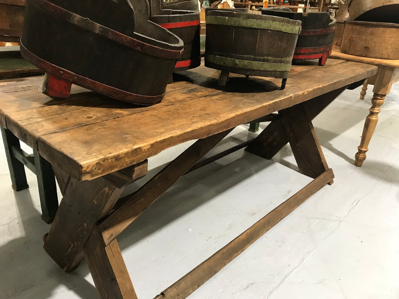 Vintage industrial European kitchen farmhouse dining table 2mt #1956
