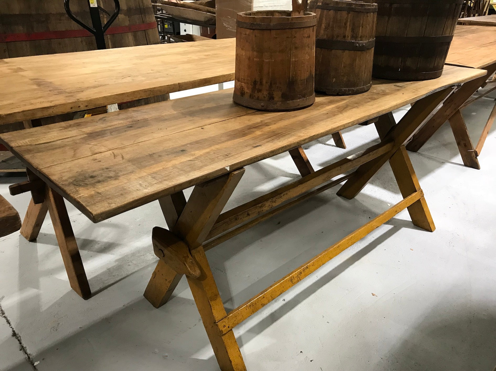 Vintage industrial European kitchen farmhouse dining table 2.2 long #1958