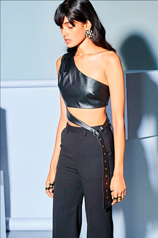LEATHER ONE SHOULDER CROP TOP
