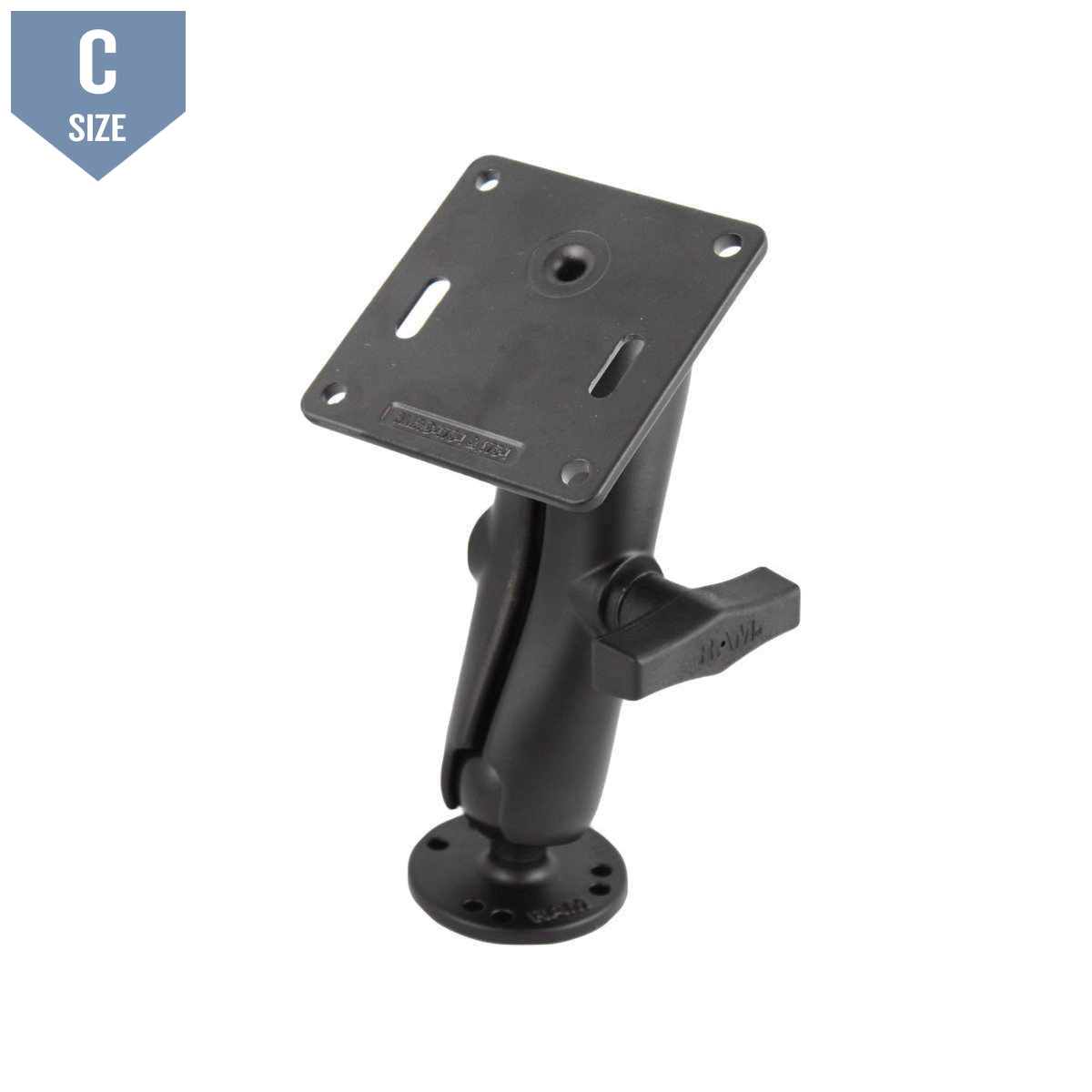 RAM 75x75mm VESA Plate & Double C Ball Mount (RAM-101U-2461) - Modest Mounts