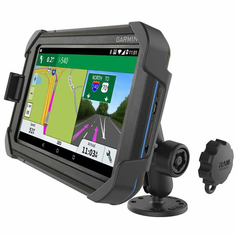 RAM EZ-Roll'r Drill-Down Mount Garmin Fleet 700 series (RAM-B-138L-GA75LU) - Modest Mounts