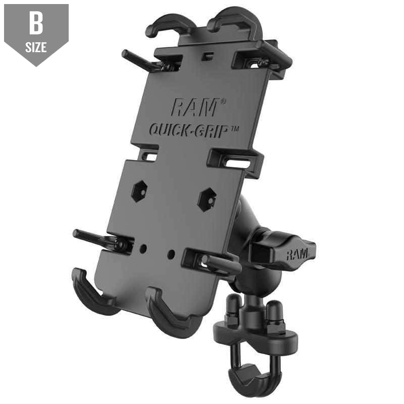 RAM Quick-Grip™ XL Phone Mount w Handlebar U-Bolt (RAM-B-149Z-A-PD4) - Modest Mounts