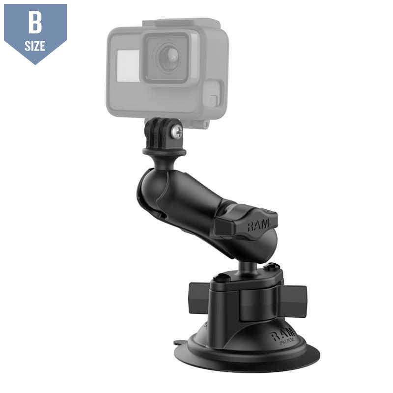 RAM Suction Cup Mount w GoPro Adapter (RAM-B-166-GOP1U)