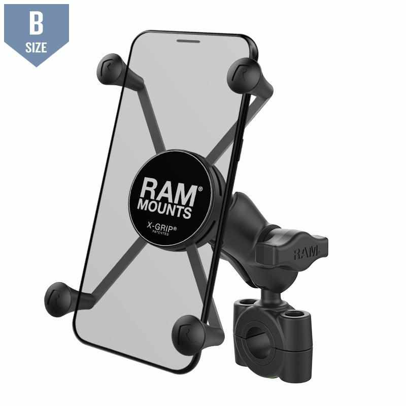 "RAM 3/4"" - 1"" Handlebar Mount UN10 X-Grip (RAM-B-408-75-1-A-UN10) - Modest Mounts"