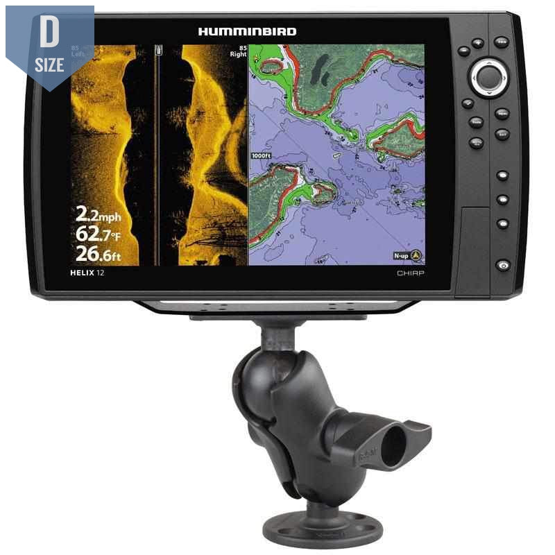 RAM D Ball Mount Humminbird Helix 9, 10 & 12 (RAM-D-202-25-C-202U) - Modest Mounts