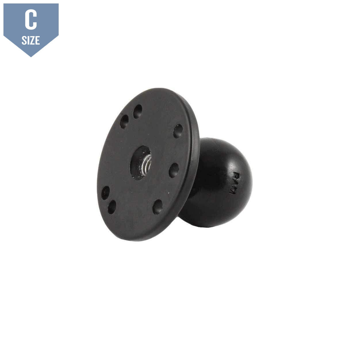 "RAM 2.5"" Round Base w Female Threaded Hole & 1.5"" Ball (RAM-202CNSU) - Modest Mounts"